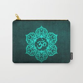 Vintage Scratched Teal Blue Lotus Flower Yoga Om Carry-All Pouch