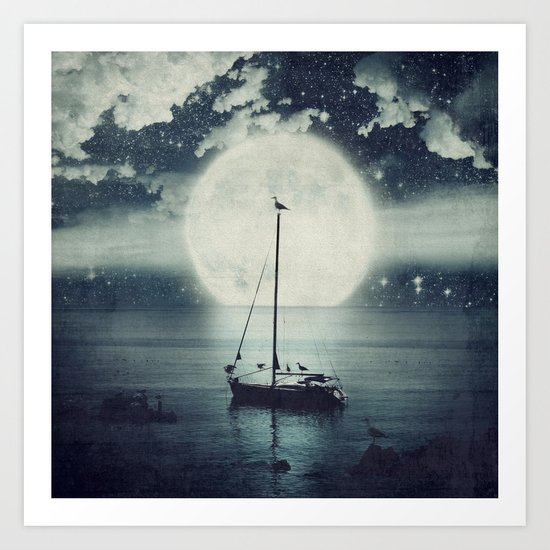 A Journey Under A Starry Night Sky Art Print