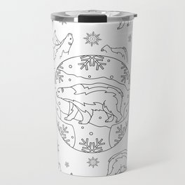 Winter background with polar bears. Travel Mug