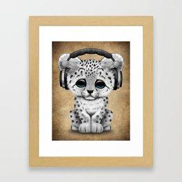 Cute Snow leopard Cub Dj Wearing Headphones Framed Art Print