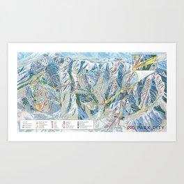 Park City Utah Trail Map Ski Snowboard Art Print