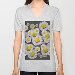 CHARCOAL GREY GARDEN OF SHASTA DAISY FLOWERS Unisex V-Neck