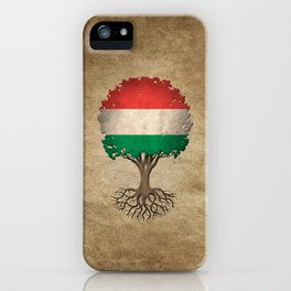 Vintage Tree of Life with Flag of Hungary iPhone Case