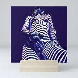 1813s-AK Sensual Blue Nude in Window Blind Stripes Mini Art Print