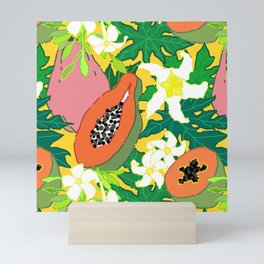 Papaya Botanical in Mango Marigold Mini Art Print