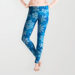 snowflakes background (winter design) Leggings