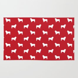 Australian Shepherd silhouette red and white dog breed pattern simple minimal dog gifts Rug