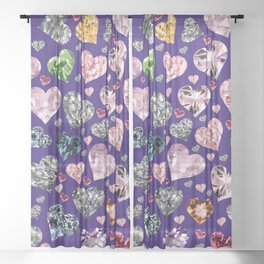 Heart Diamonds are Forever Love Violet Sheer Curtain