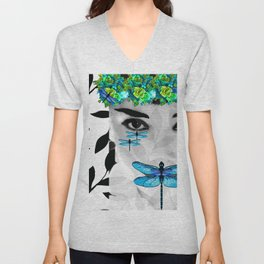 DRAGONFLY WOMAN #3 Sophisticated Blue Unisex V-Neck
