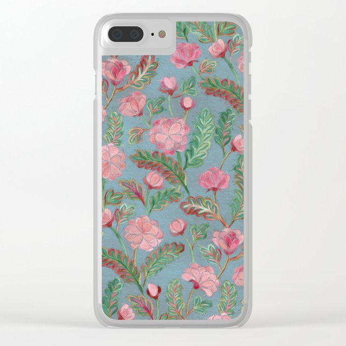 Soft Smudgy Pink and Green Floral Pattern Clear iPhone Case