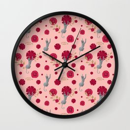 Climbing cats and red flowers Wall Clock
