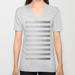 Simply Striped Moonlight Silver Unisex V-Neck