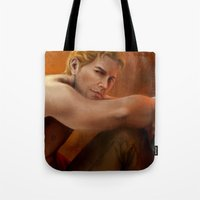"dragon age inquisition Tote Bags featuring Dragon Age - Cullen - To work? by Barbara ""Yuhime"" Wyrowińska"