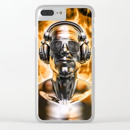 Disco god portrait / 3D render of silver male figure with headphones and disco shades engulfed in fl Clear iPhone Case