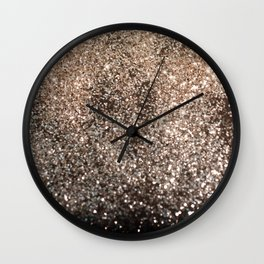 Sparkling GOLD BLACK Lady Glitter #1 #decor #art #society6 Wall Clock
