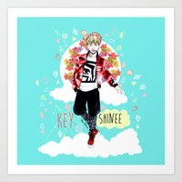 shinee Art Prints featuring SHINEE KEY by Haneul Home