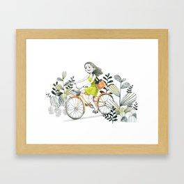 The Girl Riding A Bike Framed Art Print