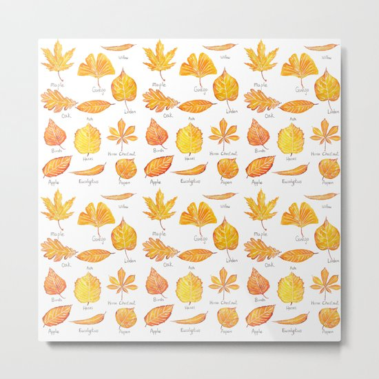 yellow leaves collection Metal Print