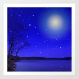 Moon and Stars Landscape Art Print