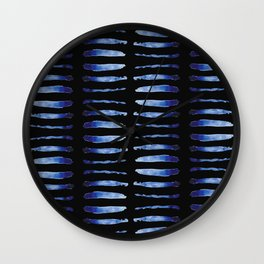 """Black and Blue Watercolor Pattern """"Double Thorax"""" Wall Clock"""