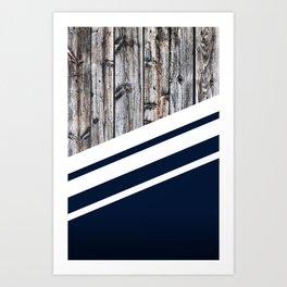 Rustic Wood Navy Art Print