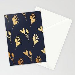 Winter Leaf Pattern (Gold&Navy) Stationery Cards