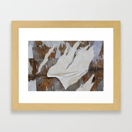 rusty orange wall with poster shreds Framed Art Print