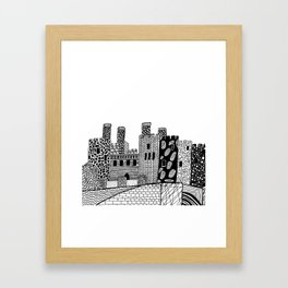 Wales Conwy Castle Patterned Illustration Framed Art Print