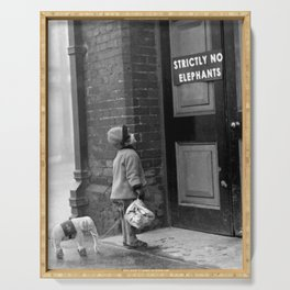 'Strictly No Elephants' vintage humorous child verses the world black and white photograph / black and white photography Serving Tray