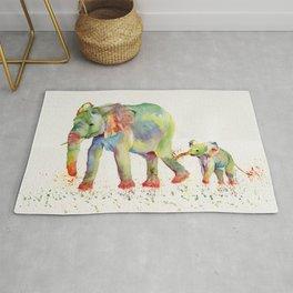 Colorful Elephant Family Rug