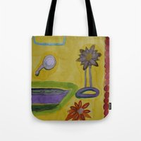 bathroom Tote Bags featuring The Yellow Bathroom by Heidi Capitaine