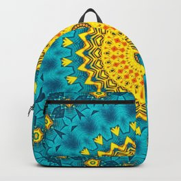 Birds of Paradise Geometric Circle Pattern \\ Tropical Beach House Vibes \\ Green Yellow Blue Colors Backpack