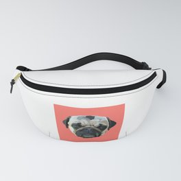 Pug Drawing in Living Coral Fanny Pack