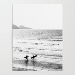 Surfers, Black and White, Beach Photography Poster