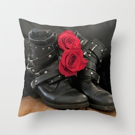 Bad-Ass Red Roses and Motorcycle Boots Throw Pillow