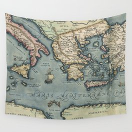 Vintage Map of The Mediterranean (1584) Wall Tapestry