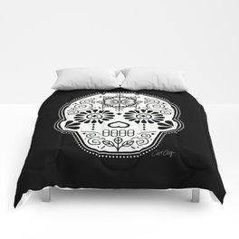Día de Muertos Calavera • Mexican Sugar Skull – White on Black Palette Comforters