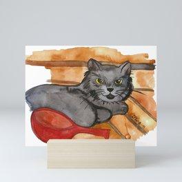 Cat in the Sauna Mini Art Print