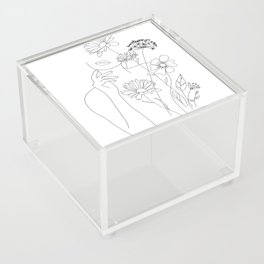 Minimal Line Art Woman with Flowers III Acrylic Box