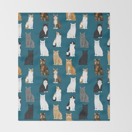 Cat breeds pattern kitty kittens cats tabby siamese white tortoiseshell Throw Blanket