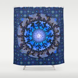 Blue Violet Thangka Shower Curtain