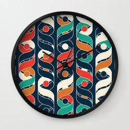 Colorful Vintage Geometric Stripes Pattern Wall Clock