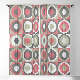 Lucky Strike retro circles Sheer Curtain