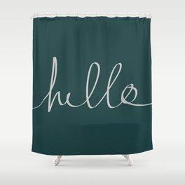 Hello x Dark Turquoise Shower Curtain