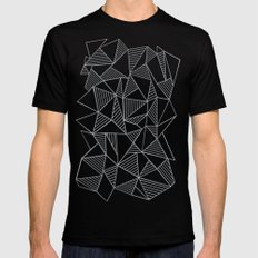 Abstraction Lines Grey Mens Fitted Tee Black MEDIUM
