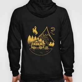 camper camping truck and moutain car fire moon night trucker Hoody