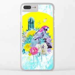 FLORAL ARA Clear iPhone Case
