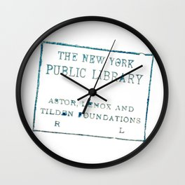 New York Public Library stamp Wall Clock