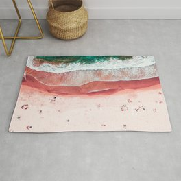 Pink Beach Print, Aerial Beach, Bondi Beach, Aerial Photography, Ocean Waves, Waves Print, Sea Print, Modern Home Decor Print Art Rug