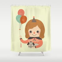 ballon Shower Curtains featuring Hold The Happy Ballon by Minifanfan